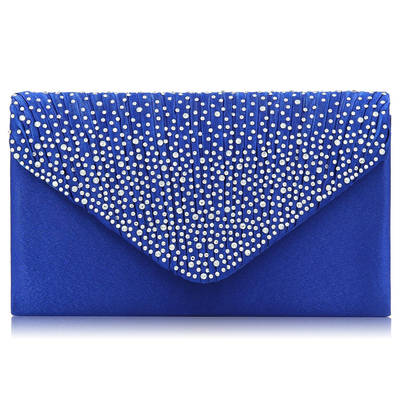 Milisente Glitter Damen Clutch Klassisch Envelope Clutch Bag Elegante Abendtasche (Blau)