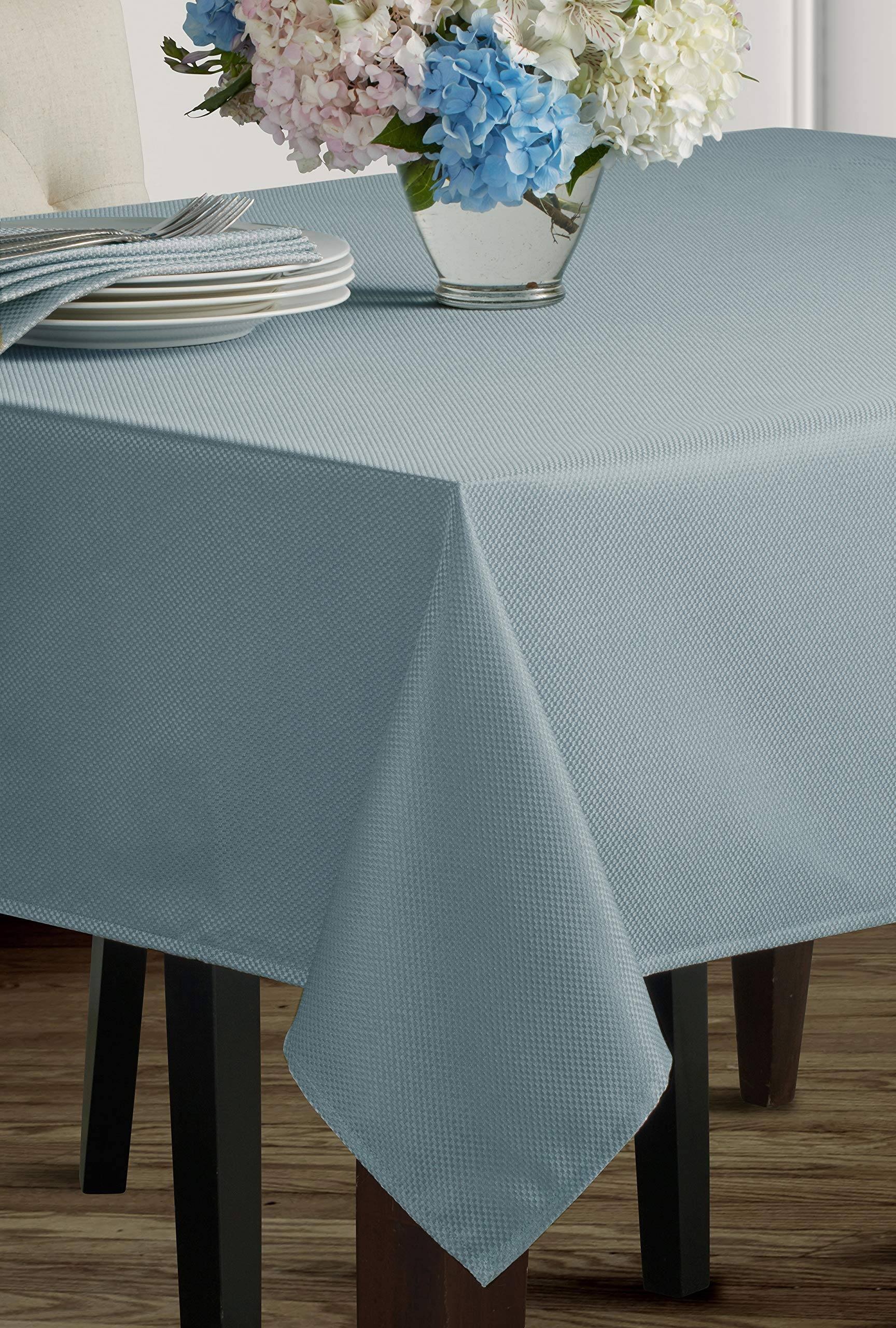 "Benson Mills Beauvalle Extra Wide Spillproof Tablecloth (68"" X 84"" Rectangular, Wedgewood Blue) - Treated polyester fabric tablecloth, extra wide. All liquids, even wine, bead up can be quickly wiped clean with a sponge or napkin Contemporary pattern Tablecloth, available in additional colors and sizes - tablecloths, kitchen-dining-room-table-linens, kitchen-dining-room - 91J76dQqTaL -"