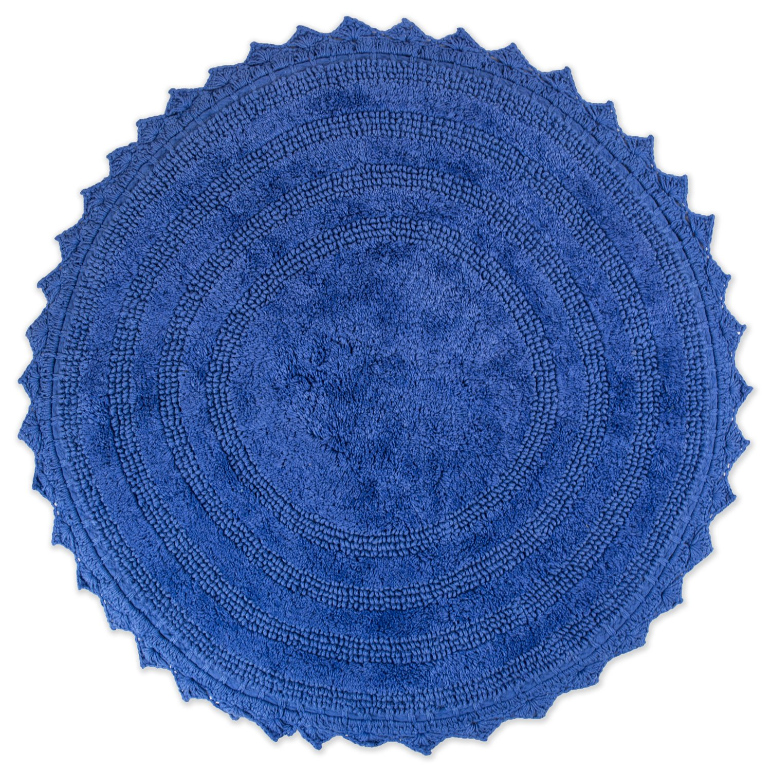"""DII Ultra Soft Spa Cotton Crochet Round Bath Mat or Rug Place in Front of Shower, Vanity, Bath Tub, Sink, and Toilet, 28"""" - Blueberry"""