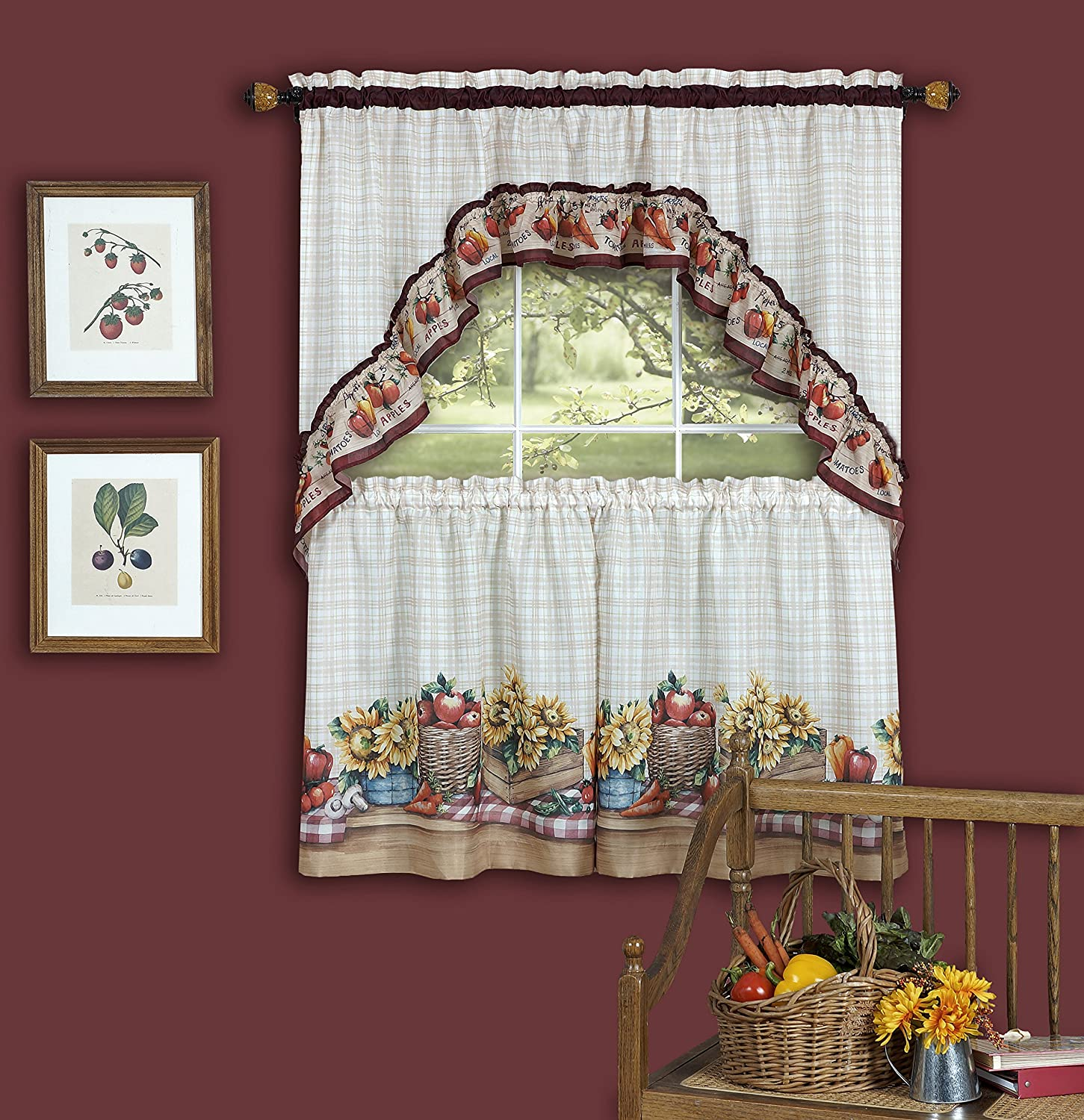 """Achim Home Furnishings Farmer's Market Tailored Tier Pair and Swag Set, 57 by 24"""", Multicolor"""