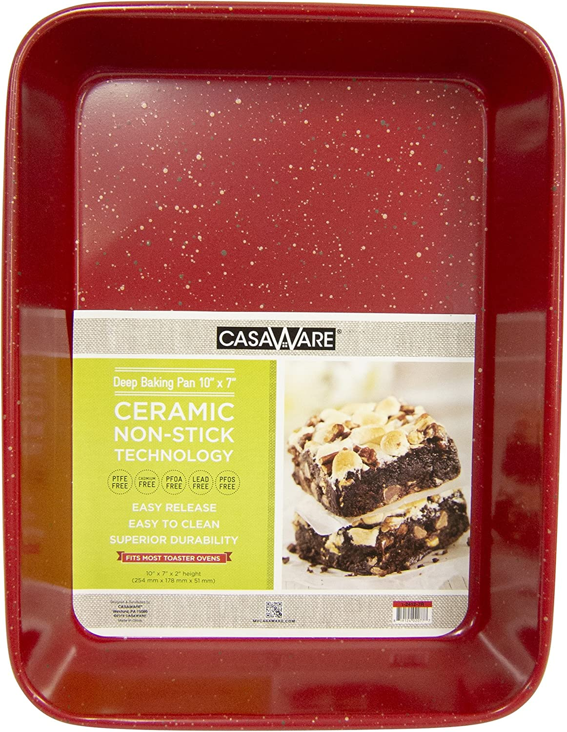 casaWare Toaster Oven Deep Baking Pan 10 x 7 x 2-inch Ceramic Coated Non-Stick (Red Granite)