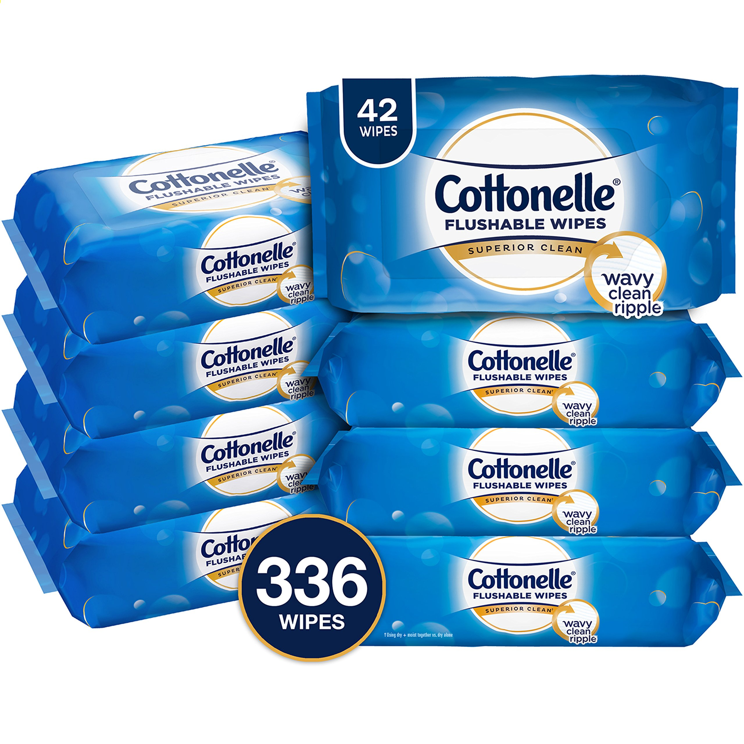 Cottonelle FreshCare Flushable Wipes, 336 Flushable Wet Wipes (Eight 42-Count Resealable Soft Packs) (Packaging May Vary), Lightly Scented by Cottonelle (Image #1)