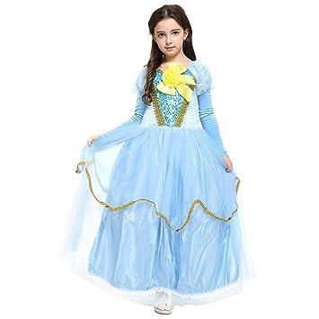 Katara 1756 Blaues Prinzessin-Kleid mit Stulpen, gelbe Schleife ...