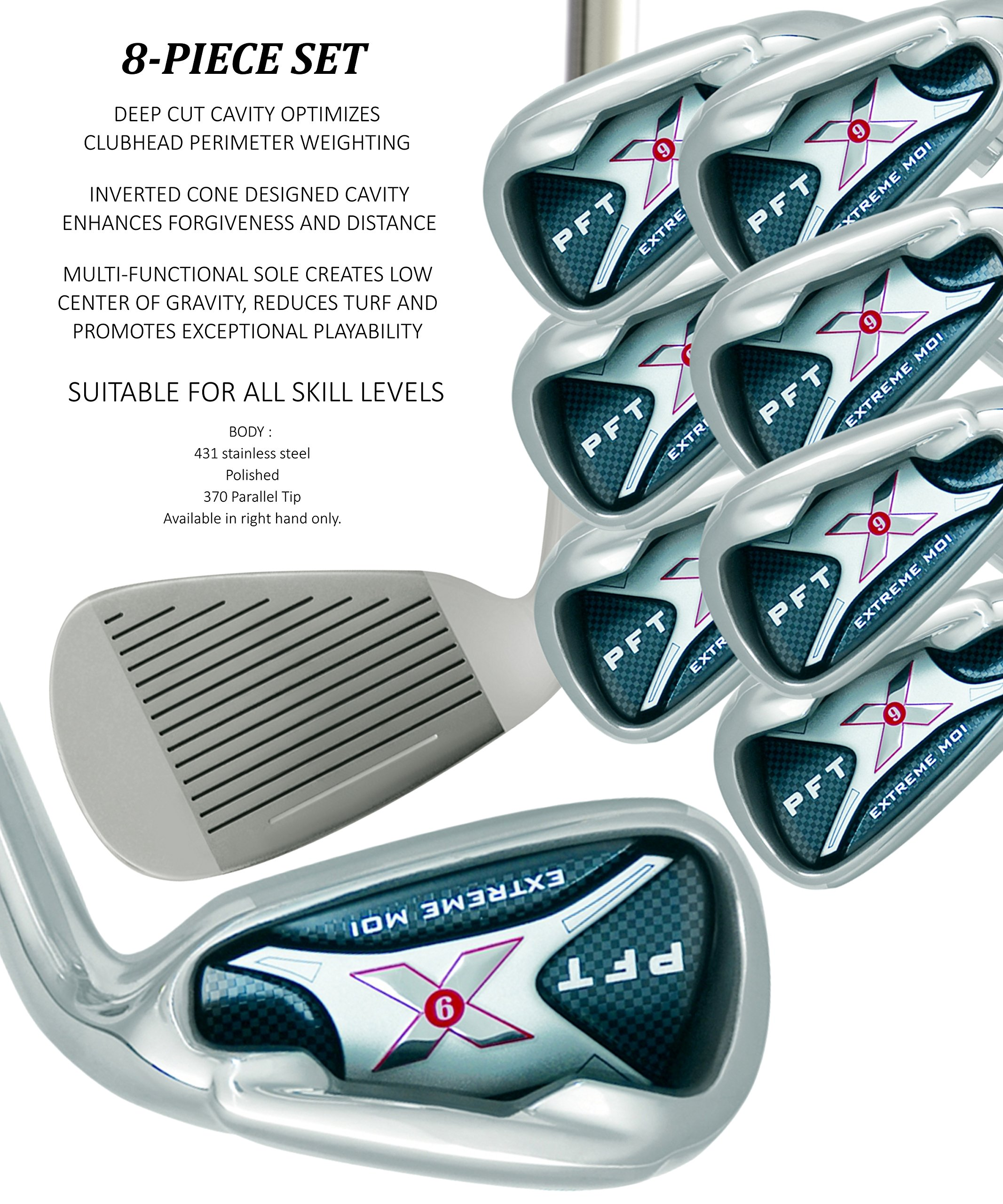 PFT X9 High Moi Extreme 9 Iron Set Golf Clubs Custom Made Right Hand Regular R Flex Steel Shafts Complete Mens Irons Ultra Forgiving OS Oversized Wide Sole Ibrid Club