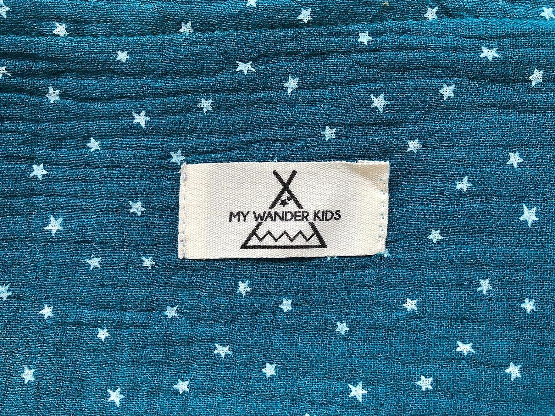 Pa/ñuelo cubre lactancia en tela b/ámbula color aguamarina con estrellas blancas para dar el pecho con intimidad