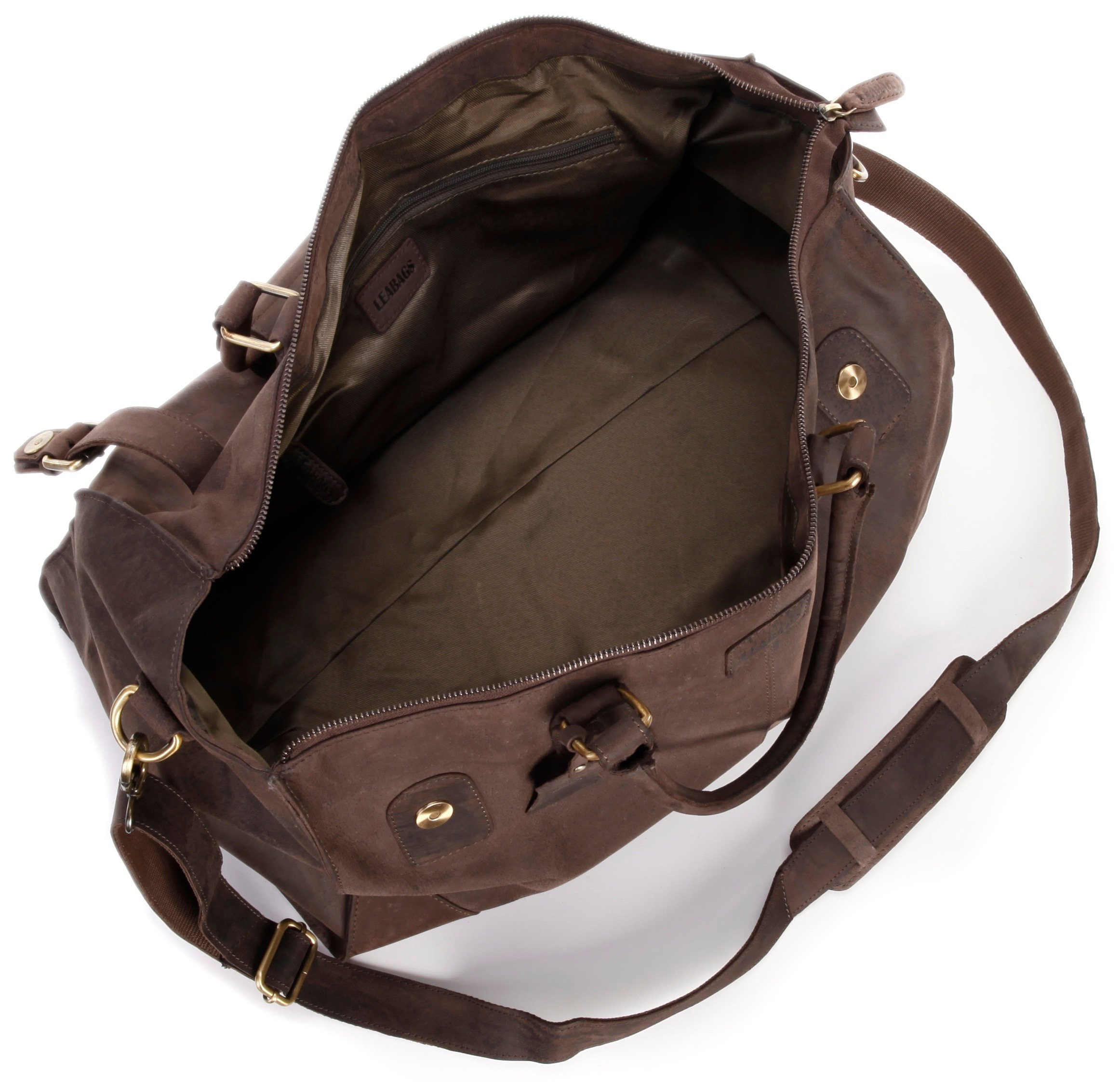 LEABAGS Durham genuine buffalo leather duffle bag in vintage style - Nutmeg by LEABAGS (Image #7)