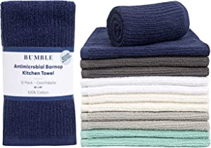 """Bumble 12-Pack Antimicrobial Barmop Kitchen Towels / 16"""" x 19"""" Premium Kitchen Towels/Super Absorbent Heavy Weight Cotton/Ribbed Weave (Cool)"""