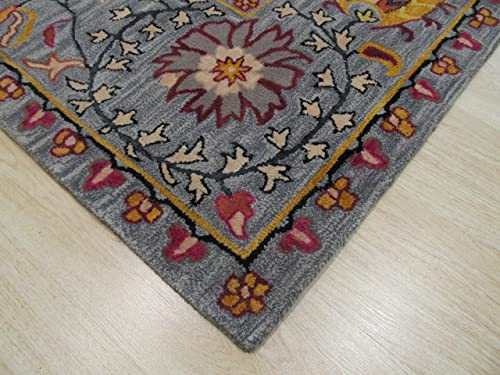 EORC Hand Tufted Wool Paisley Rug, 8 9 x 11 9, Blue