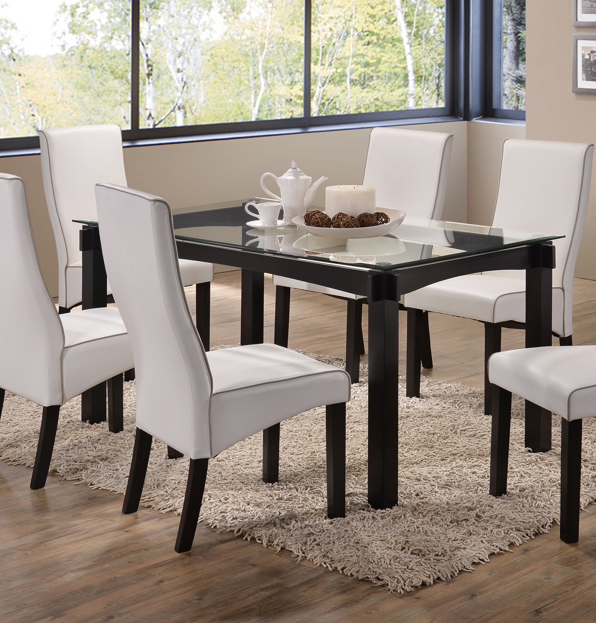 Kings Brand Rectangle Cappuccino Finish Wood With Glass Dining Kitchen Dinette Table by Kings Brand Furniture