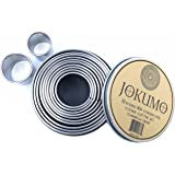 JOKUMO 12 Piece Plain Round Pastry/Cookie Cutter Set Heavy Duty Commercial Grade 18/8 304 Stainless Steel - Metal Marked Size – Perfect For Cooking Enthusiast