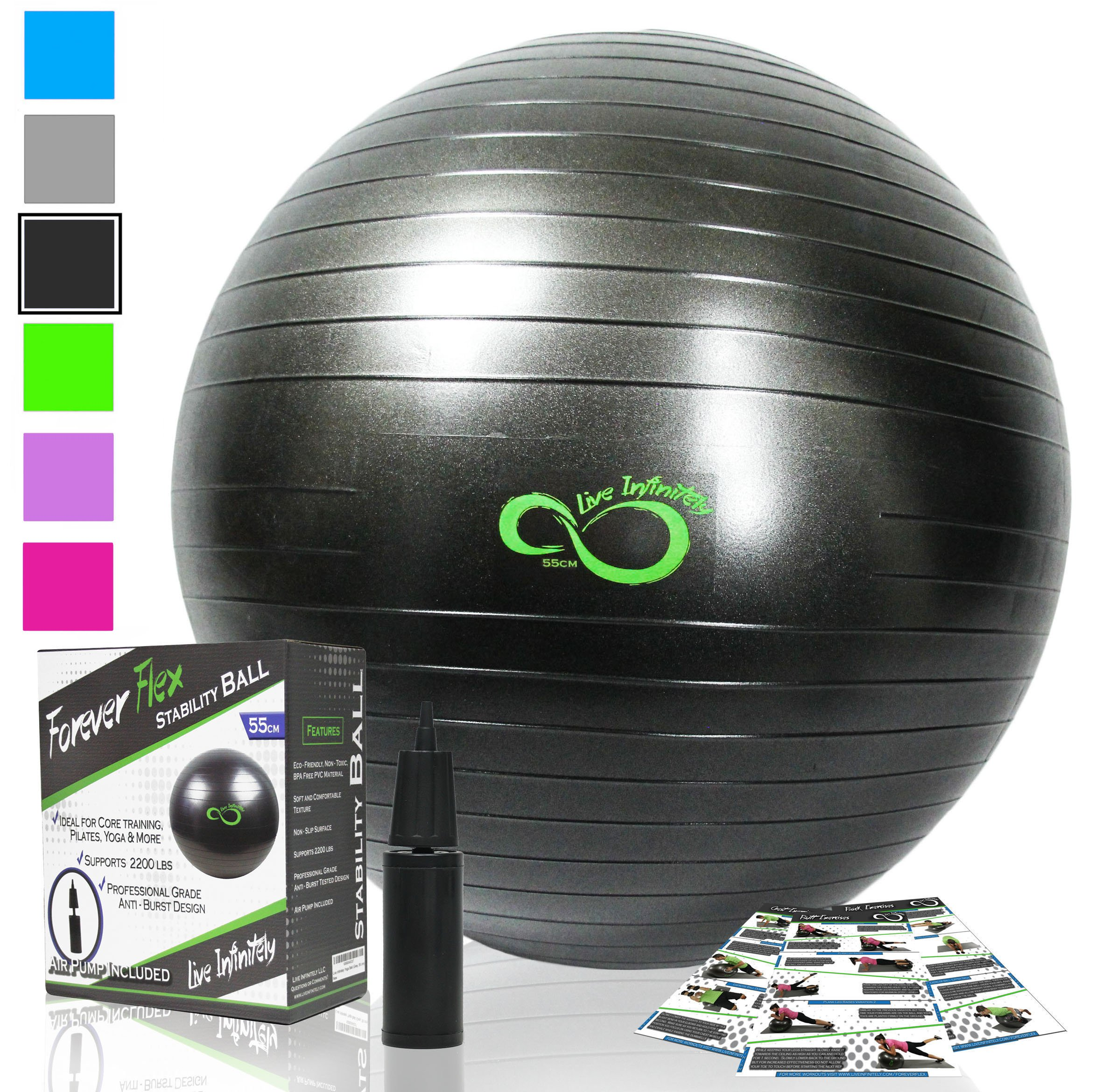 Exercise Ball -Professional Grade Exercise Equipment Anti Burst Tested with Hand Pump- Supports 2200lbs- Includes Workout Guide Access- 55cm/65cm/75cm/85cm Balance Balls (Dark Grey, 65 cm)
