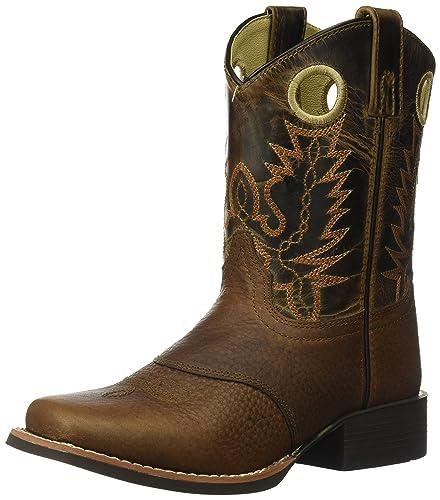 69f9df1b2ed Smoky Mountain Children Luke Square Toe Western Cowboy Boots Brown