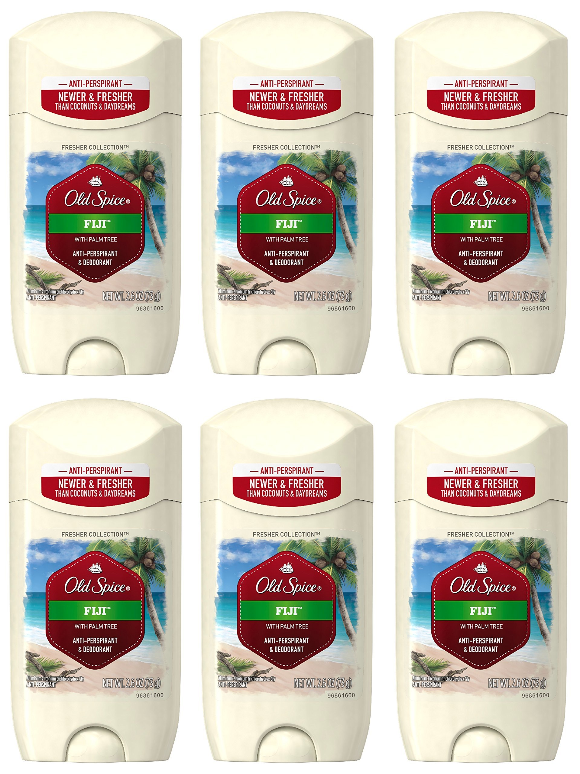 Old Spice Antiperspirant and Deodorant for Men, Fresher Collection, Fiji Invisible Solid, Coconut & Tropical Wood Scent, 2.6 Oz (Pack of 6)