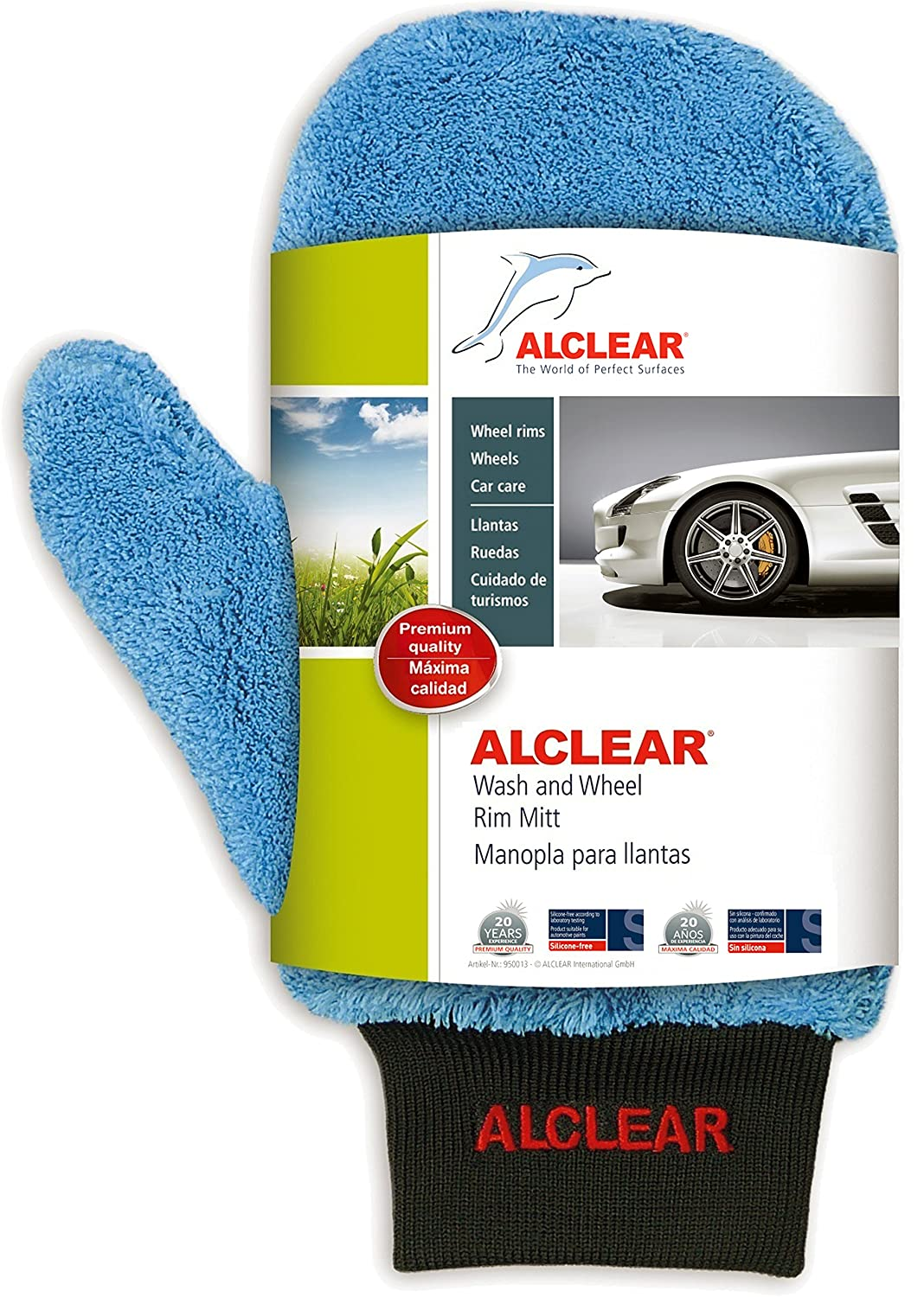 ALCLEAR 950013 Ultra-Microfiber professional scratch free Wheel Rim Mitt, blue with black cuff. Size approx. 10.24 x 4.72 in.