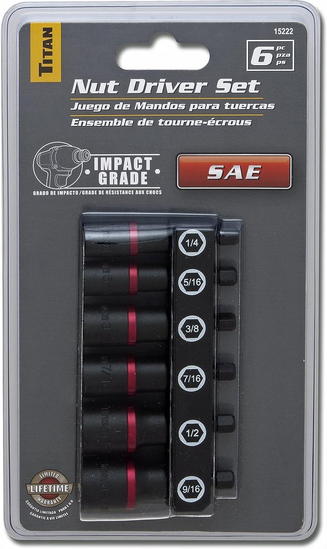 Titan Tools 15222 SAE Nut Driver Set 6 Piece