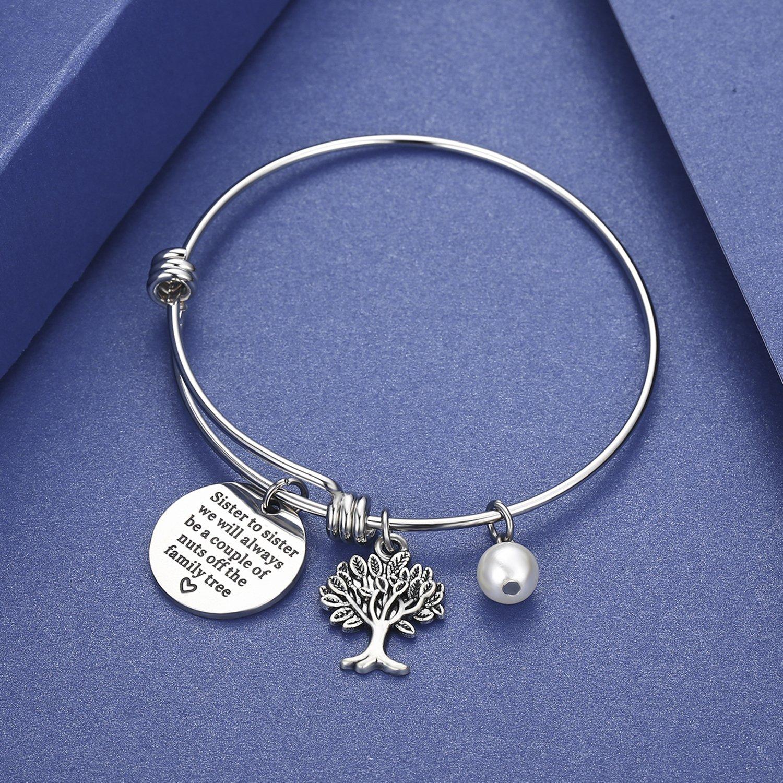 regalo para hermana hermana a hermana que siempre seremos una pareja de tuercas del /árbol familiar Pulsera de joyer/ía CJ/&M Sister
