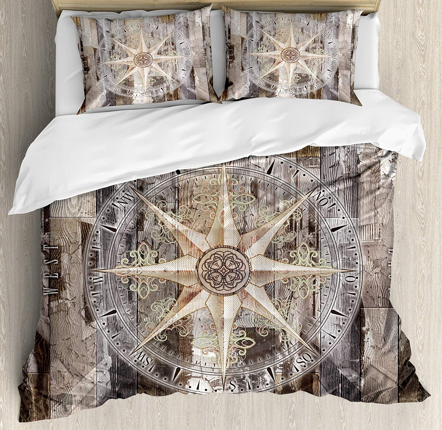 Marine Life Twin Duvet Cover Sets 4 Piece Bedding Set Bedspread with 2 Pillow Sham, Flat Sheet for Adult/Kids/Teens, Navy Sea Life Yacht Theme Colored Wood Backdrop Rudder like Compass Marine Image