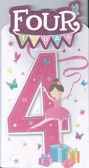 4 today ballet ballerina girls general age happy birthday ballet ballerina girls general age happy birthday greetings card m4hsunfo