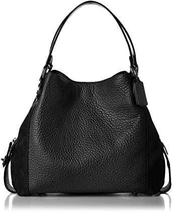 5230af53 COACH Women's Mixed Leather Edie 42 Dk/Black One Size: Handbags ...