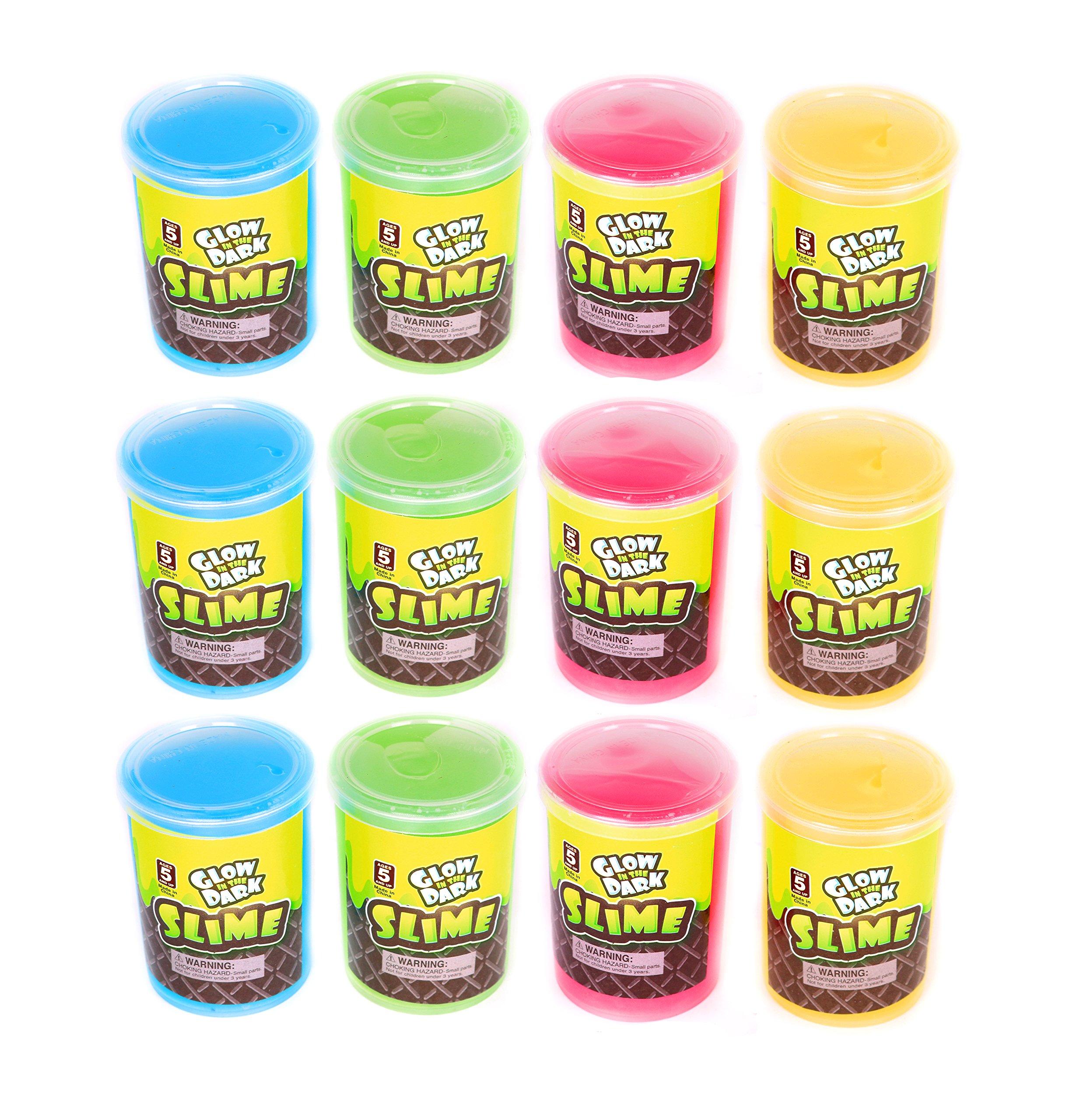 Glow In The Dark Slime - Bulk Pack Of 12 Assorted Colors Slime