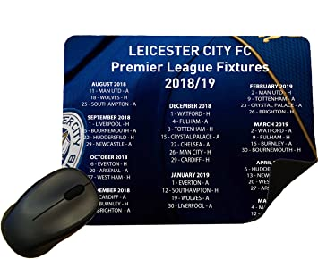 436d7ca2db9 Leicester City 2018/2019 Premier League Fixtures Mouse Mat/Pad - By Eclipse  Gift