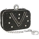 MG Collection Hand Beaded Pearl & Rhinestones Hard Box Clutch Purse Evening Bag