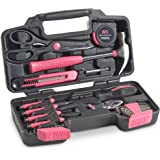 VonHaus Pink General Tool Set 39 Piece - Home Hand Tools Kit with Plastic Toolbox Storage Case