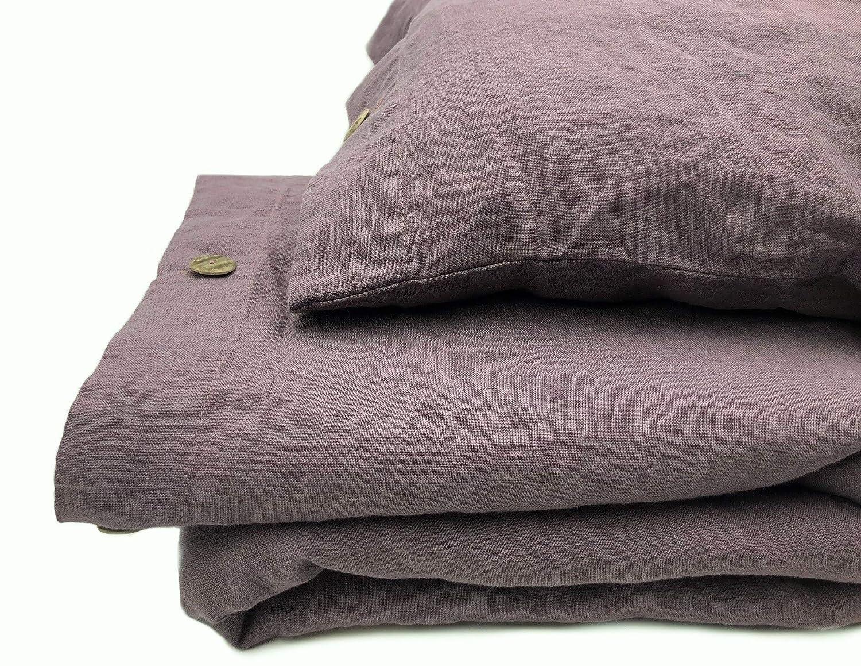 Jowollina Bettwäsche-Set  Bettbezug 200x200 cm+2 Kissenbezüge 70x50 cm Leinen Stonewashed (Grau Lila)
