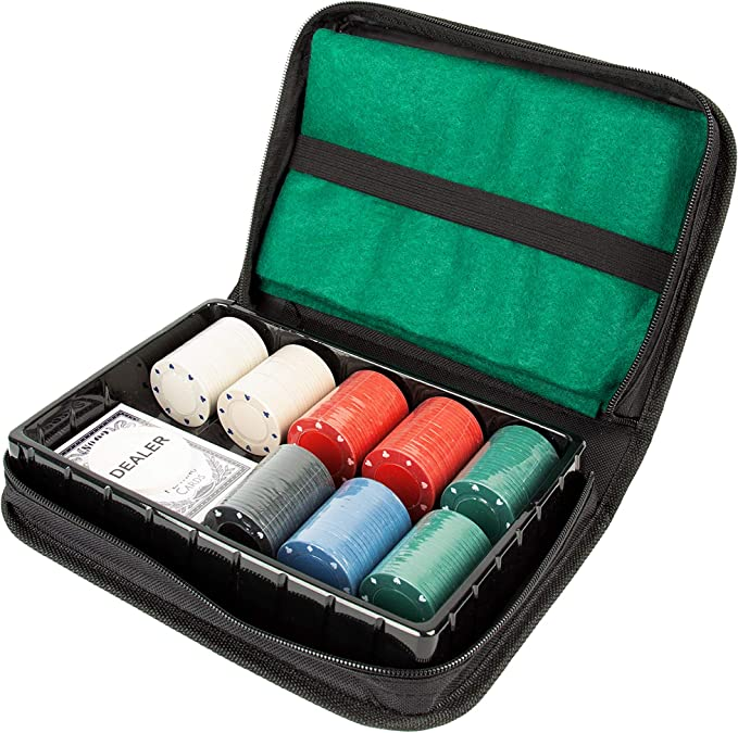 Global Gizmos Poker Travel Set 45409 Texas Holdem póquer de Viaje | Chips/Cards/Esterilla de Juego | Estuche de Transporte | Game Night (Benross Marketing: Amazon.es: Juguetes y juegos