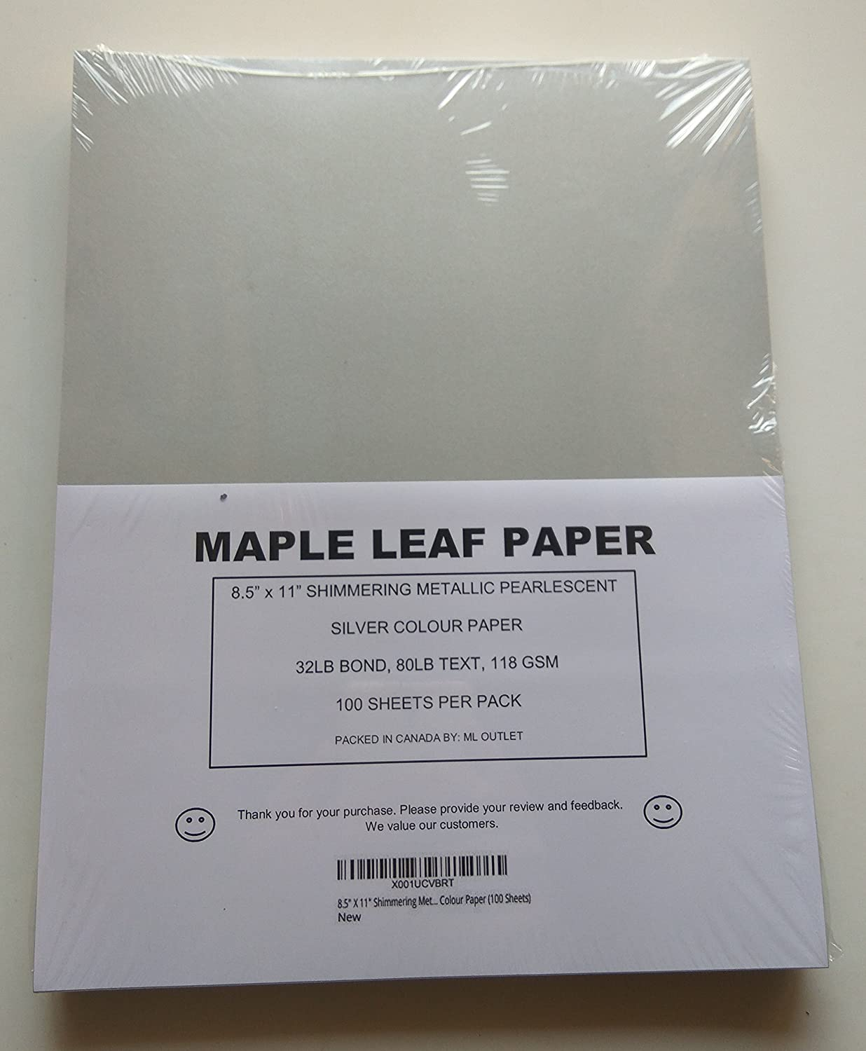8.5 X 11 Shimmering Metallic Pearlescent Paper, 32LB Bond, 80LB Text, 118 GSM, Silver Colour Paper (50 Sheets) Maple Leaf Paper