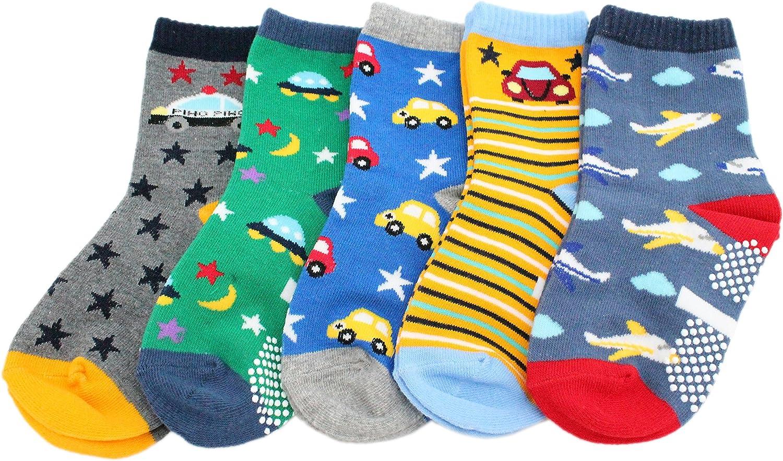 Pack de 5 calcetines antideslizantes de algodón para niños (coche aviones estrellas) Aviones de coches 1-3 Años: Amazon.es: Ropa y accesorios