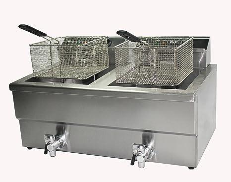 Freidora Comercial Freidora Patatas Fritas, Eléctrico 10 litro Doble Cesto Doble Depósito Pez & Patata