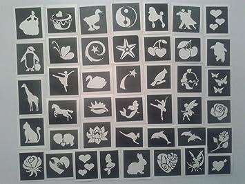 75 X Girls Stencils For Glitter Tattoos Body Art Airbrush Ideal Fund Raising Dolphin Mermaid Heart Horse Unicorn Amazon Co Uk Toys Games