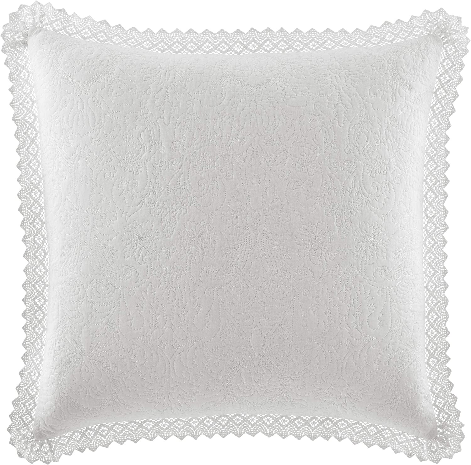 Laura Ashley Home Solid Crochet | Premium Quality Pillow Sham, Decorative Pillow Case for Bedroom Living Room and Home Décor, 26