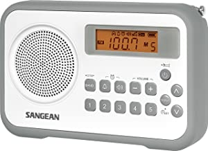 Sangean PR-D18GR AM/FM/Clock Portable Digital Radio with Protective Bumper (White/Grey)