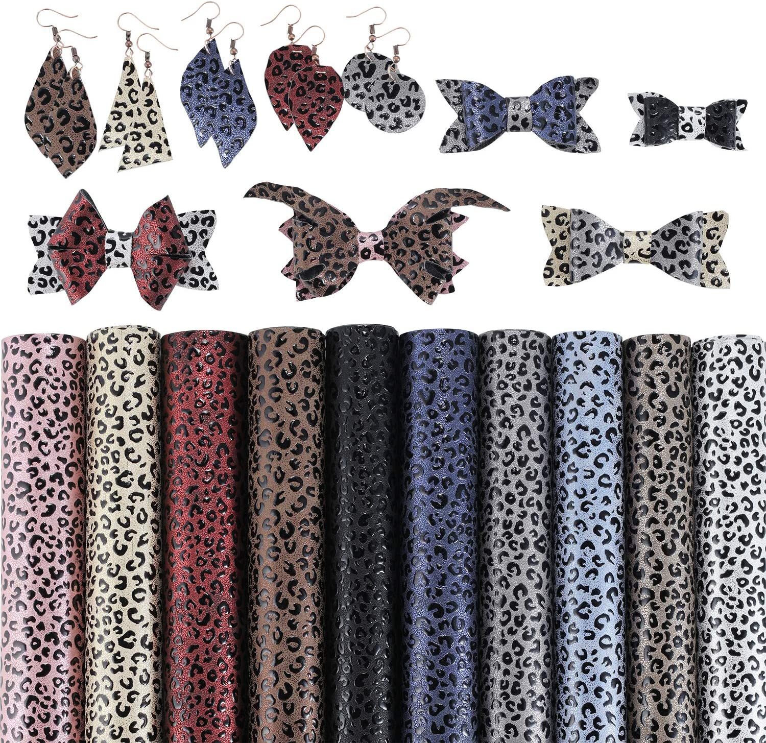 SHUANGART 10 Pieces Leopard Printed Fauxs Leather Sheets【8 X 12//21 X 30 cm】for Bows Earrings Purse Handbags Crafts Jewelry Making Embossed Synthetic Fabric 1 mm Thickness Assorted Color
