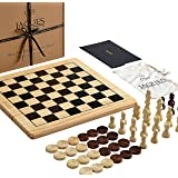 Jaques of London Chess Set with Board Inc. Draughts Pieces - A Chess and Checkers Sets with Board - Perfect Wooden Chess Set for Kids of All Ages - Your Children will Love this Beautiful Set