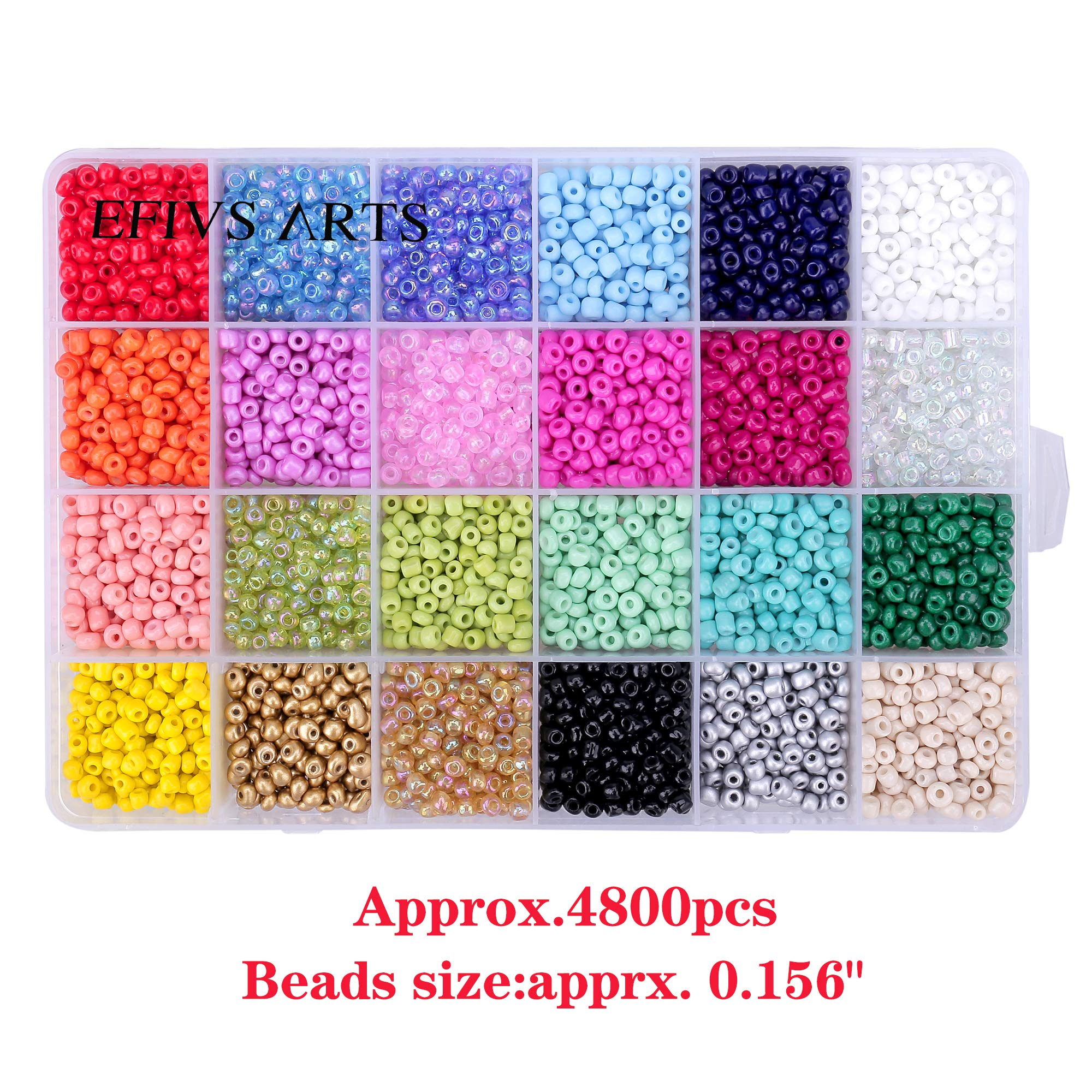 Efivs Arts Glass Seed Beads,24 Colors 6/0 4mm Small Pony Beads Multicolor Beading Beads with Container Box for Jewelry Making - Approx 4800pcs by Efivs Arts