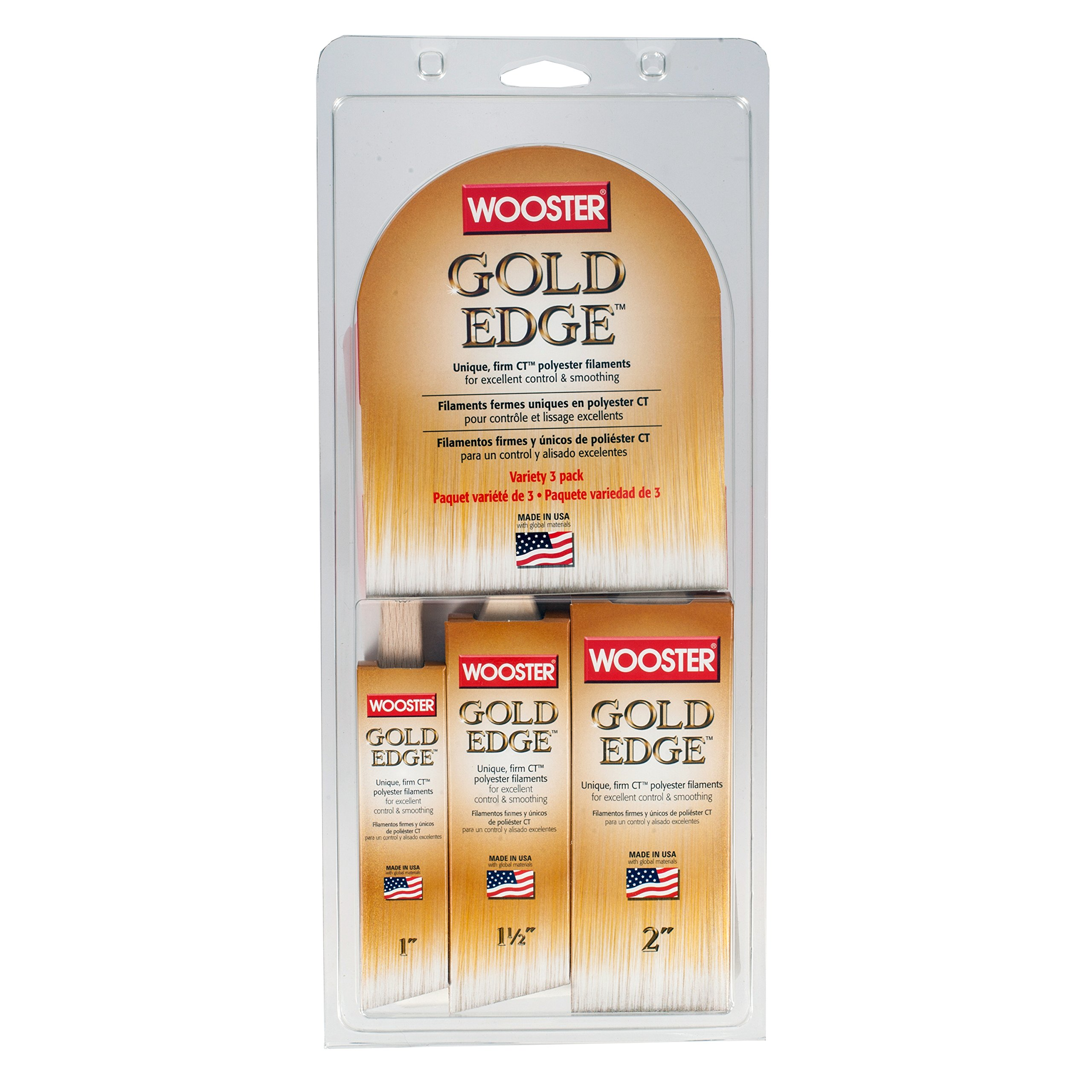 Wooster Series 5239 Gold Edge Wall Brush 3 Pack, 1 Inches by Wooster