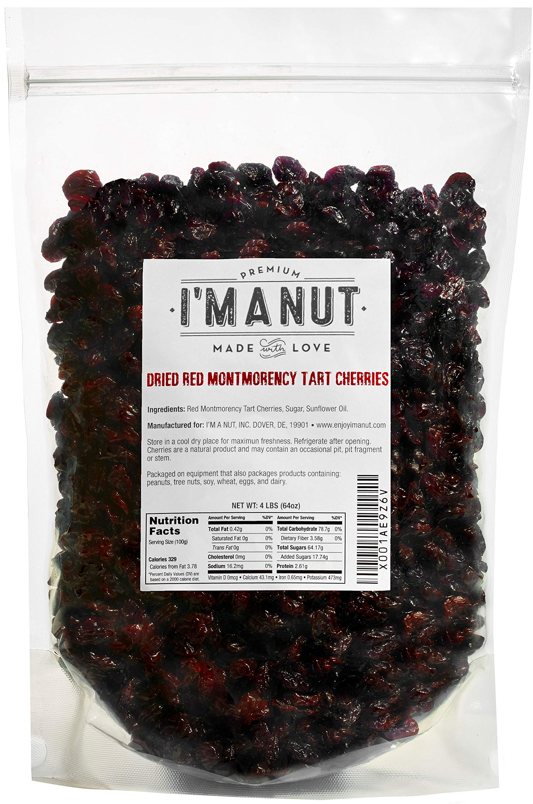 Dried Cherries 4 LB (=64oz) Resealable Bag, Tart (Sour) Montmorency Variety - /sweetened by I'm A Nut (Image #1)