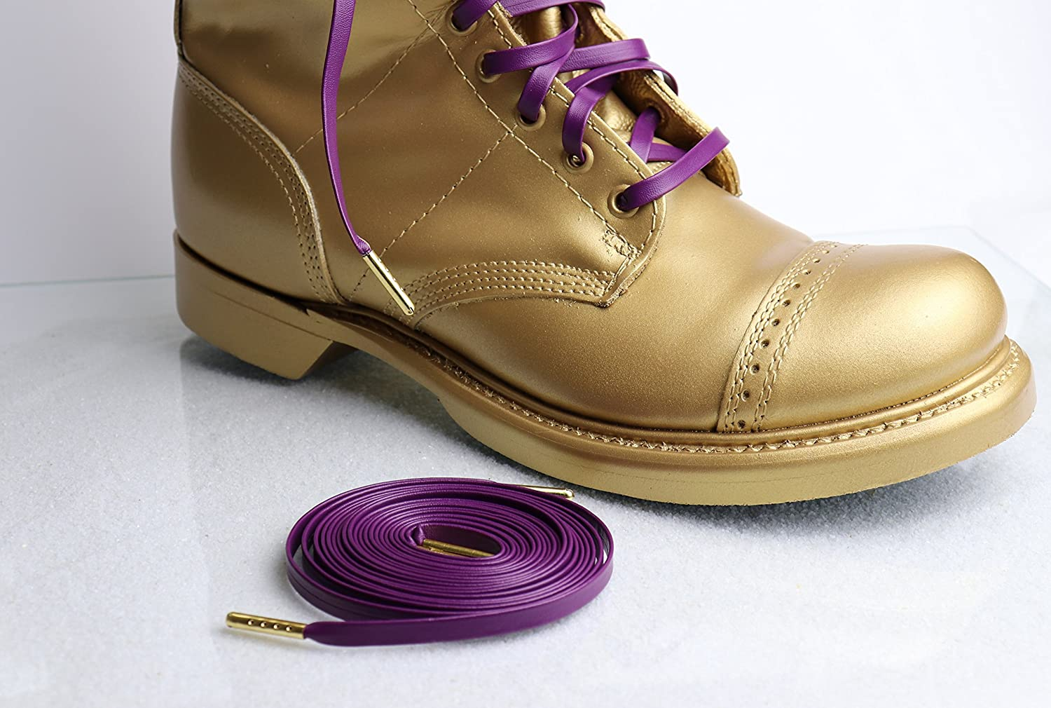 Leather Omega Psi Phi Laces with Gold Lace Tips