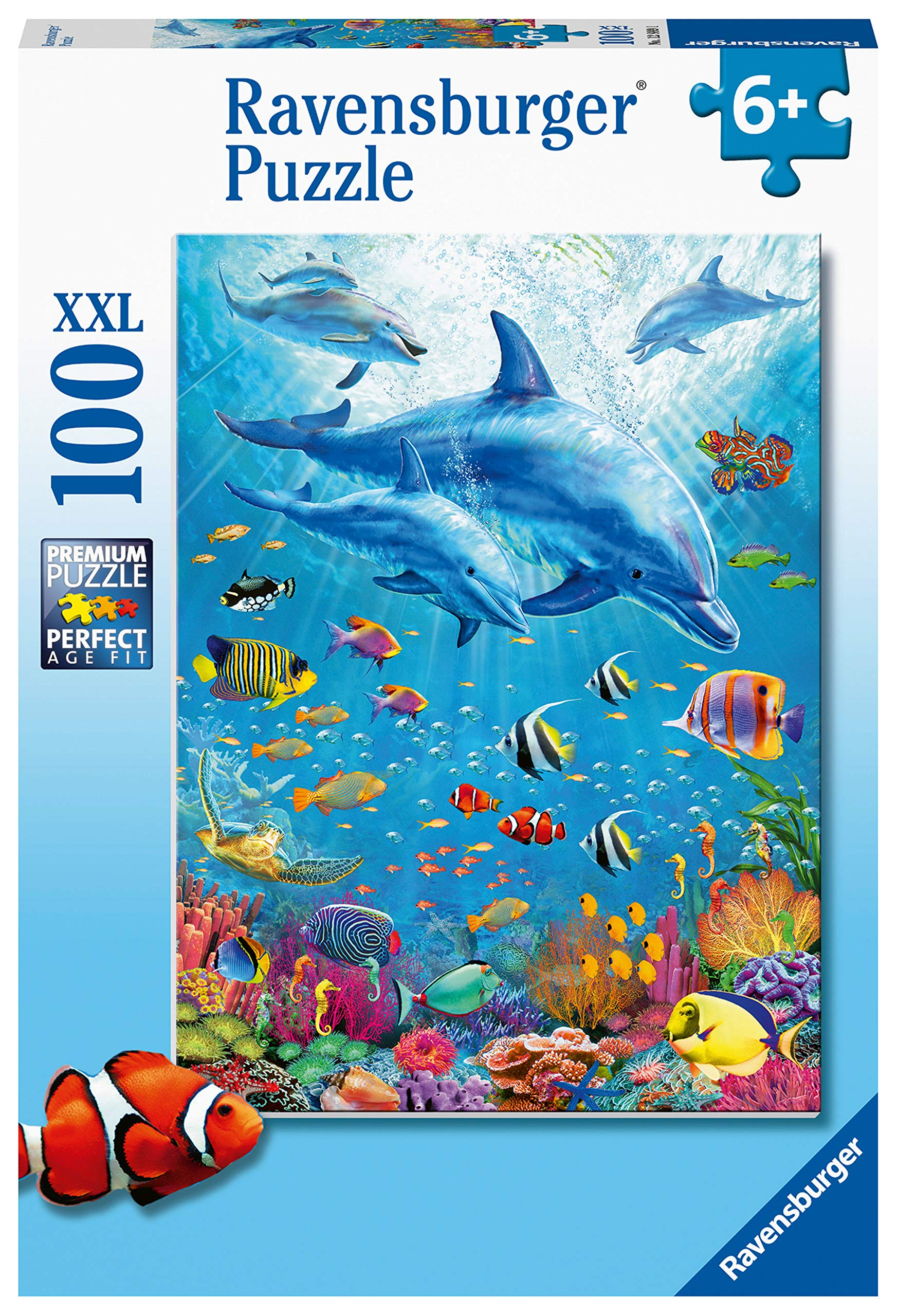 Ravensburger 12889 Pod of Dolphins 100 Jigsaw Puzzle with Extra Large Pieces for Kids Age 6 Years and up