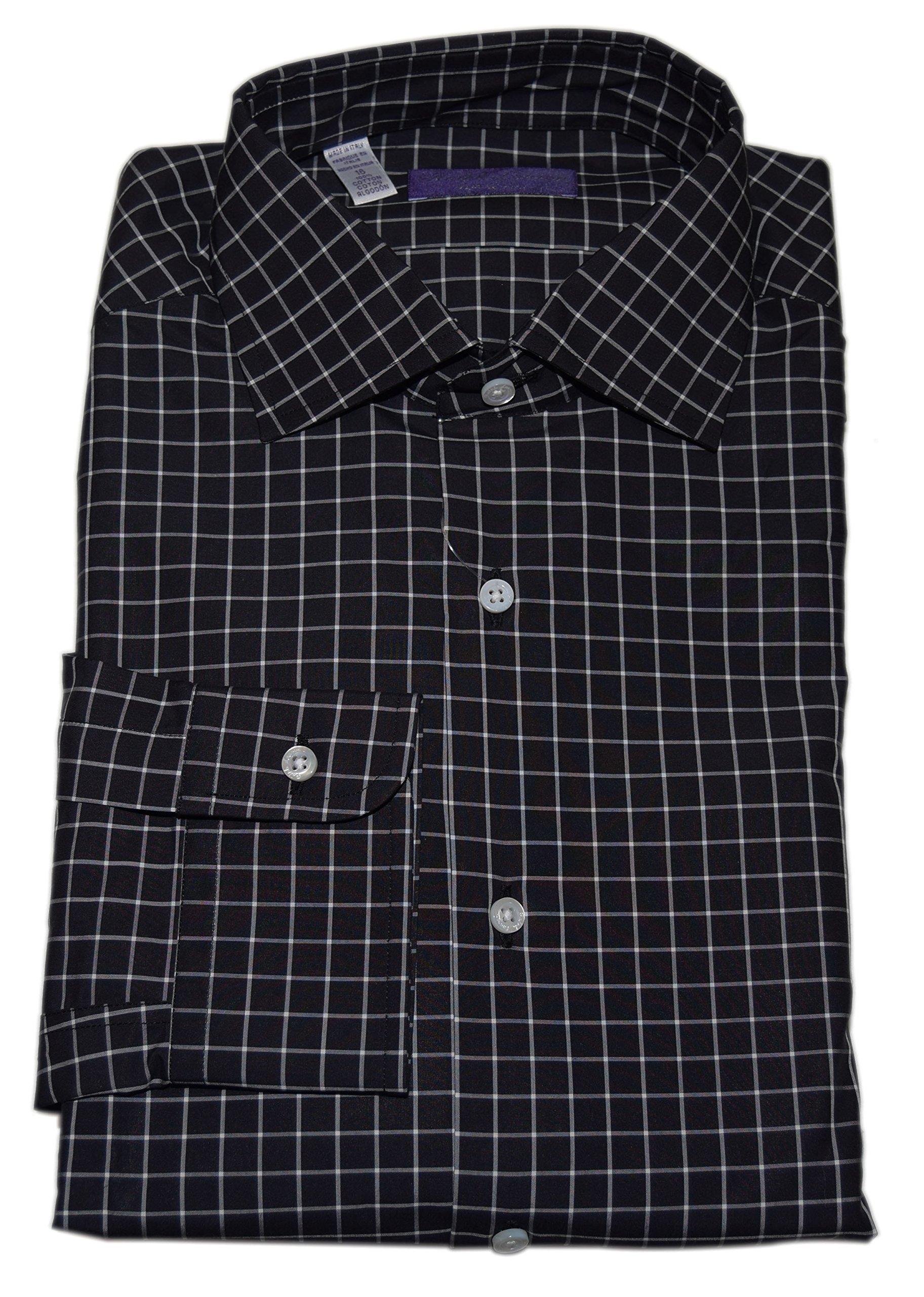 Ralph Lauren Polo Purple Label Men Fine Dress Shirt Italy Check Black White 14.5