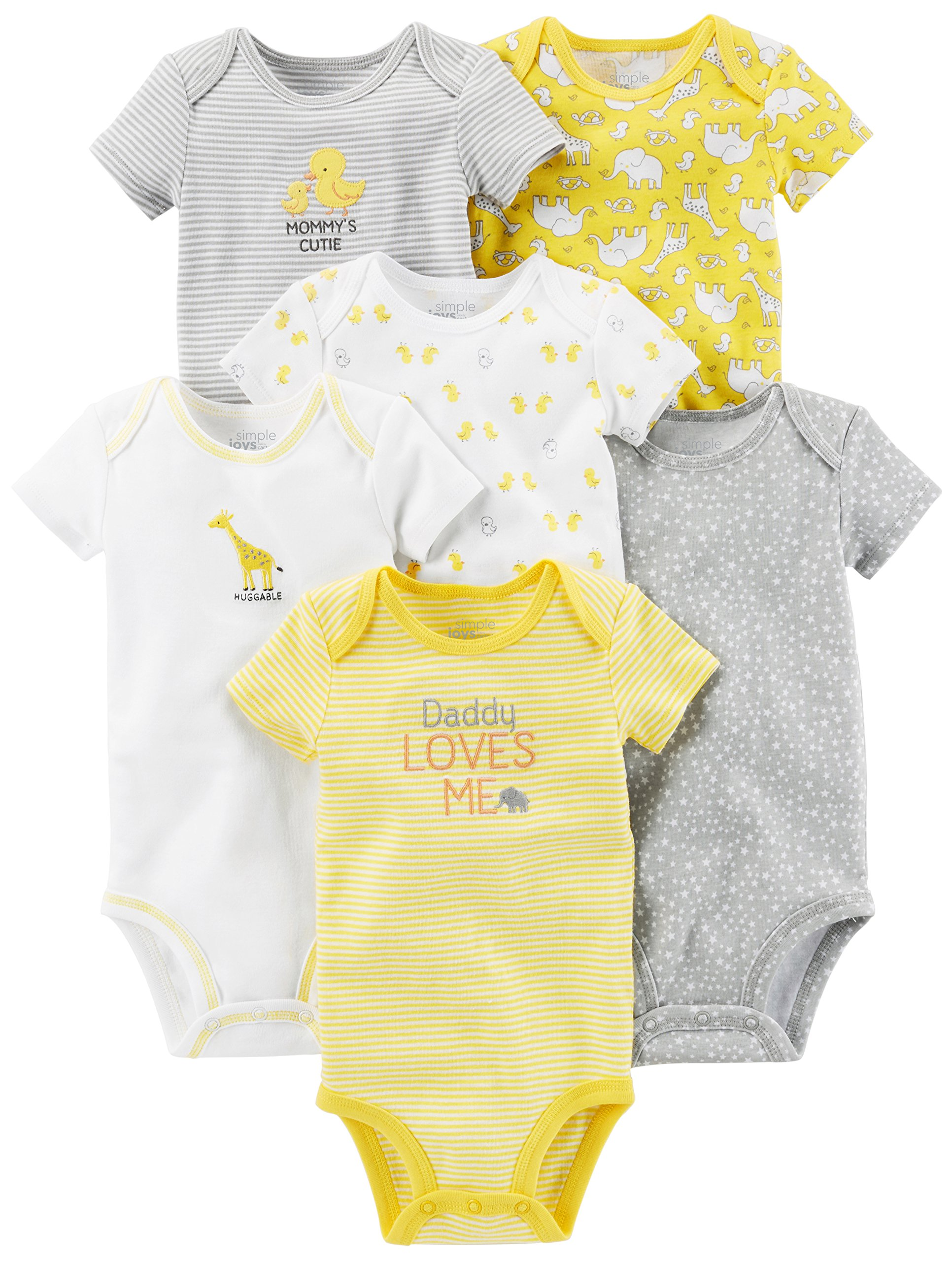Simple Joys by Carter's Baby 6-Pack Short-Sleeve Bodysuit, Yellow/Grey, 0-3 Months