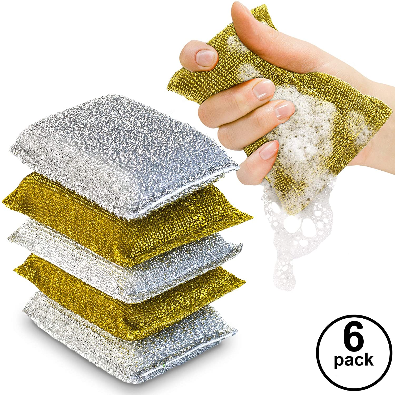 Kitchen Scrubbing Sponges - Heavy Duty Non-Scratch Scrubbing Cleaner Sponges In 2 Colors - Multi-Surface Non-Metal Dish Scouring Scrubbers For Fast Cleaning - With Antibacterial Technology By (6)