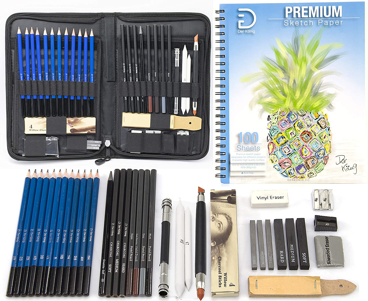 Drawing Pencils and Sketch Pad (41pcs Art Supplies Drawing Kit) - Complete Drawing and Sketching Set: Graphite, Charcoal and Pastels Pencils - Large Sketch Pad 100-Sheets - Pop-up zippered pencil case