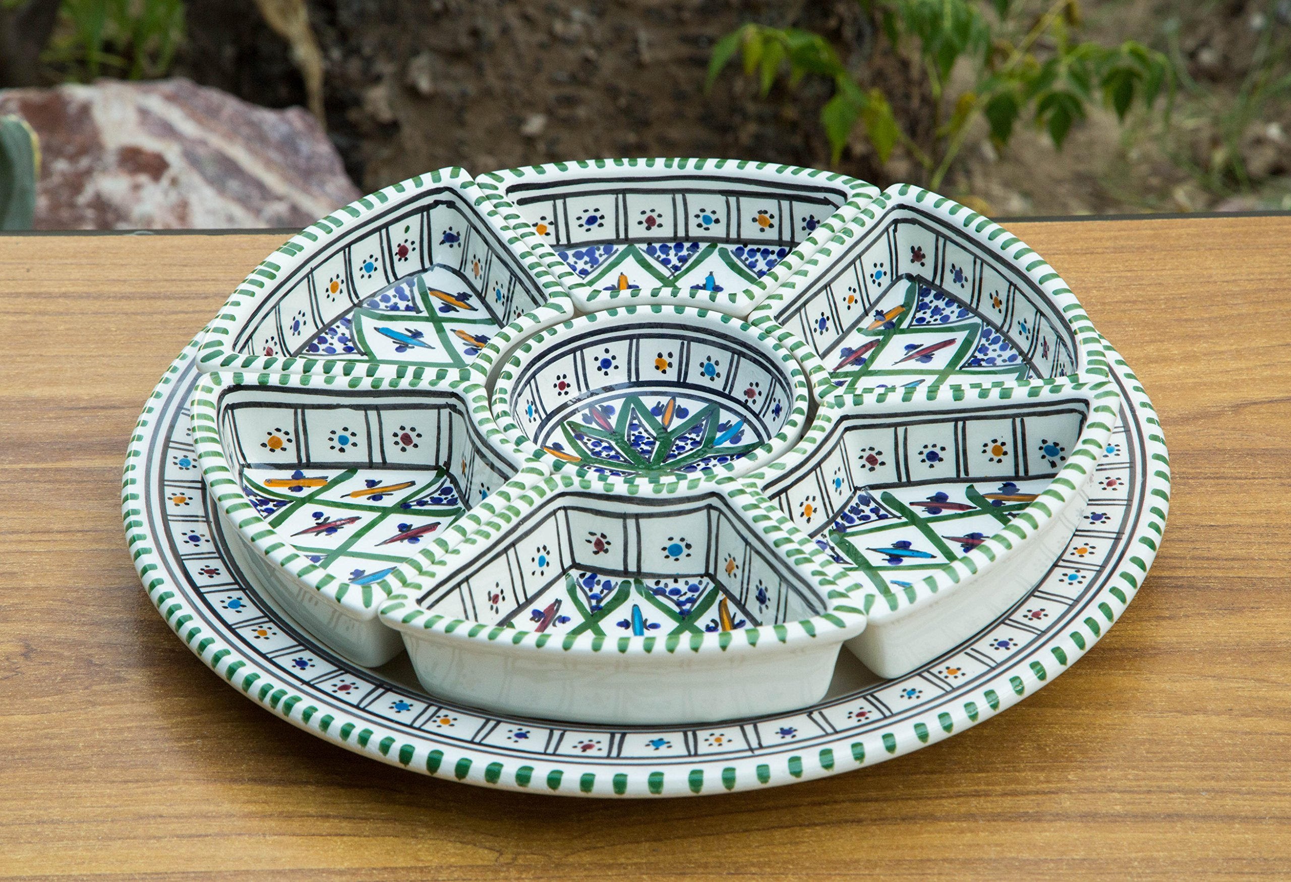KAMSAH Large Green Round Dippers, 8 Pieces of Ceramic Dipping and Serving Plates Handmade, Hand-Painted - Gifts, Wedding Gifts Birthday Celebration, Housewarming Gifts, Labor Day Celebration