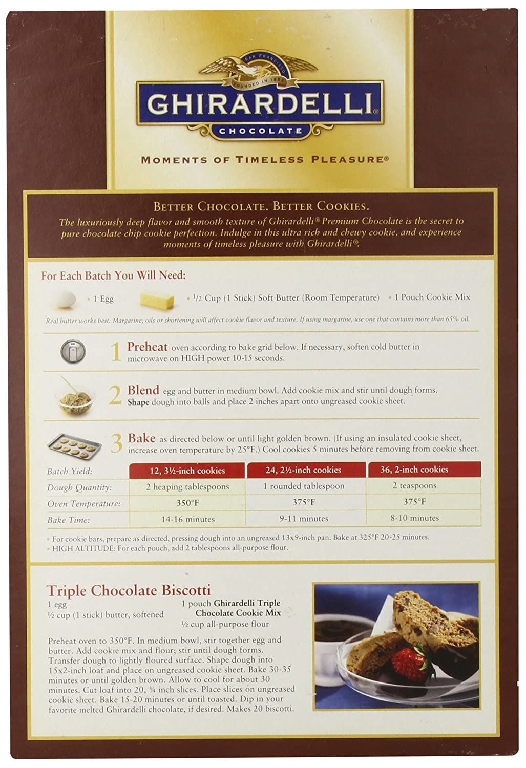 Amazon.com : Ghirardell Chocolate Triple Chocolate Semi Sweet ...