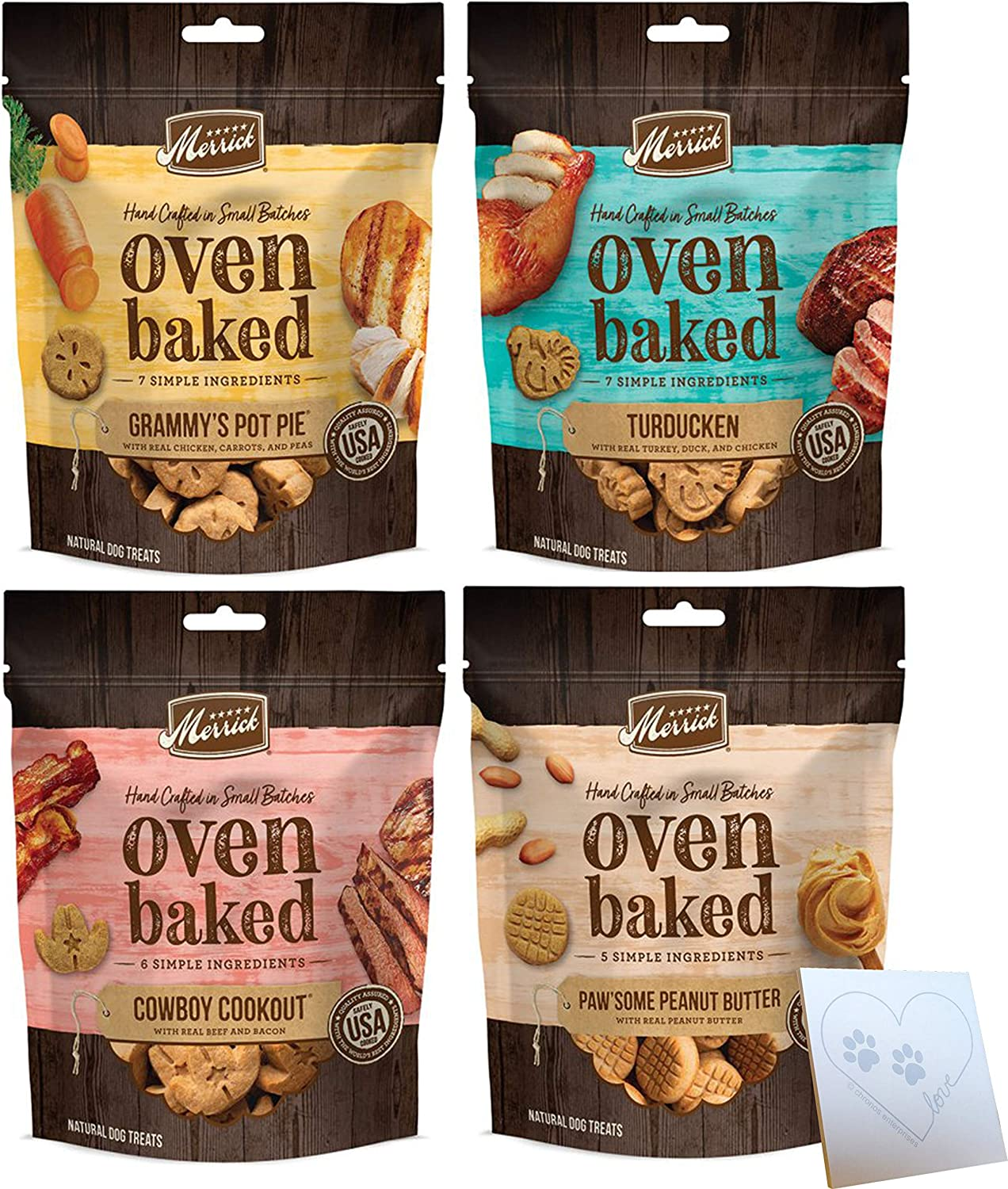 Merrick Oven Baked Biscuits Variety Pack - Four Total Flavors: Peanut Butter, Cowboy Cookout, Grammy's Pot Pie, & Turducken + Notepad (11oz Each, 44oz Total)