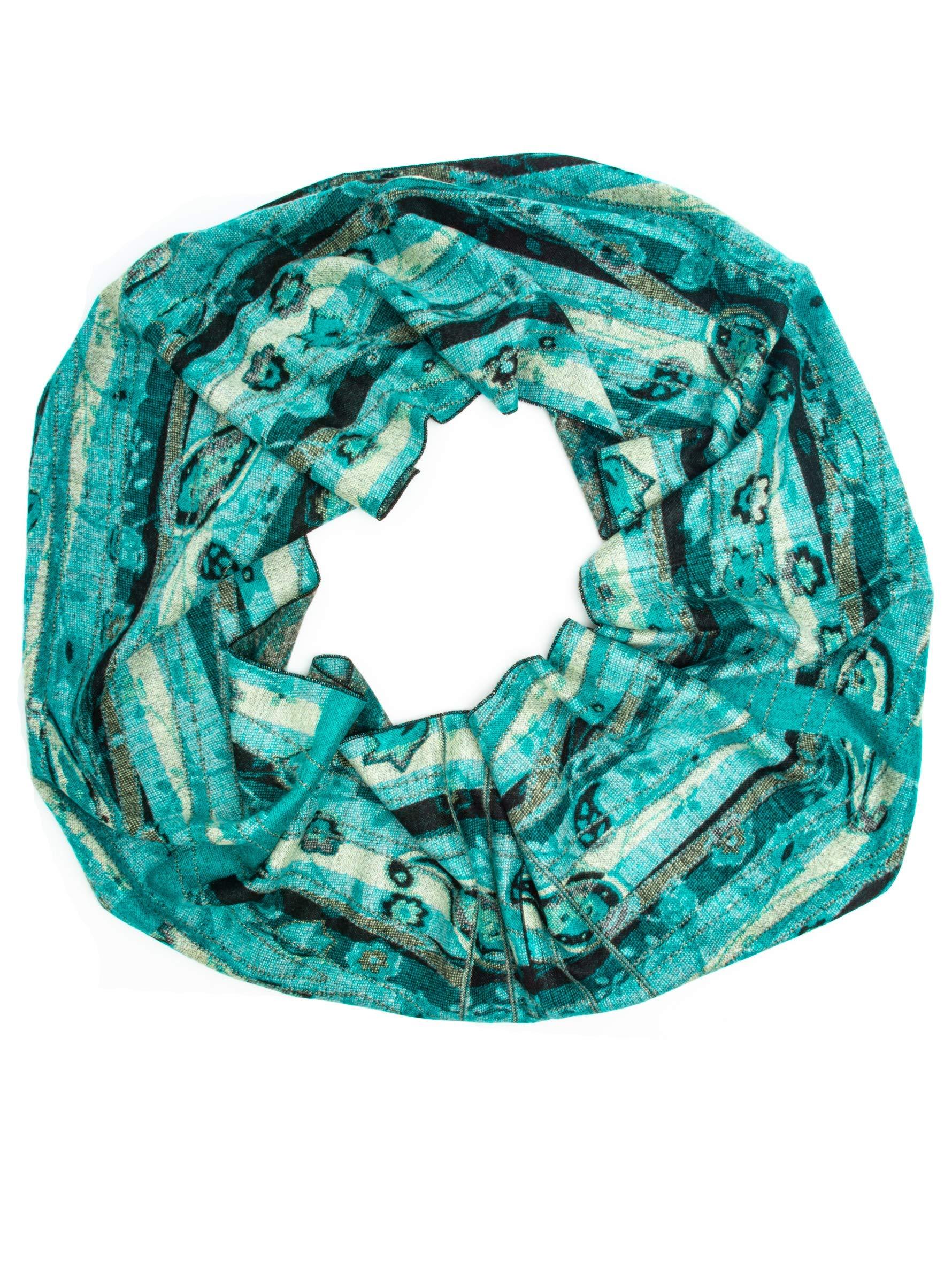 Bohomonde 100% Cashmere Pashmina or Infinity Scarf, Genuine Cashmere, Soft Warm Indian Paisley, Fun Boho Patterns (Infinity Scarf, Mint/Teal Paisley INF)